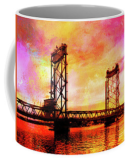 Portsmouth Memorial Bridge Abstract At Sunset Coffee Mug
