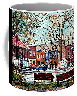 Portuguese Park Plateau Mont Royal Row Houses Autumn In The City Canadian Painting Carole Spandau    Coffee Mug