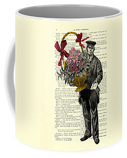 Postman Delivering Bouquet Of Flowers Coffee Mug