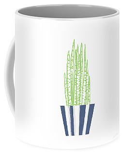 Coffee Mug featuring the mixed media Potted Succulent 3- Art By Linda Woods by Linda Woods