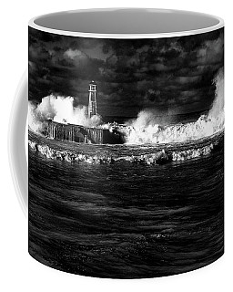 Coffee Mug featuring the photograph Pounding The Breakwater by Nareeta Martin