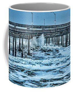 Coffee Mug featuring the photograph Pounding Waves On Ob Pier by Daniel Hebard