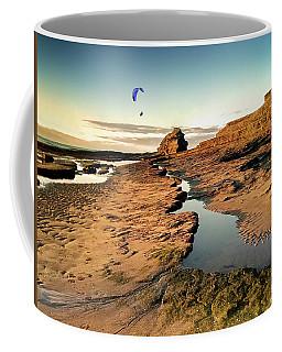 Powered Paraglider Over Bundoran Main Beach At Sunset Coffee Mug