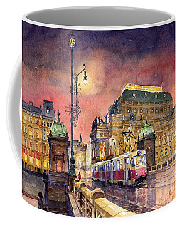 Prague  Night Tram National Theatre Coffee Mug