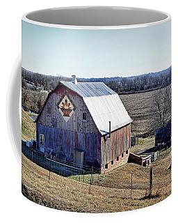 Coffee Mug featuring the photograph Prairie Flower Quilt Barn by Cricket Hackmann