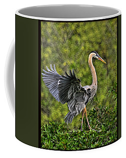 Coffee Mug featuring the photograph Prancing Heron by Shari Jardina
