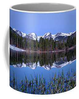 Pre Dawn Image Of The Continental Divide And A Sprague Lake Refl Coffee Mug