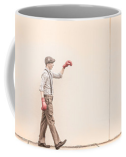 Pre Fight Boxing Argument With Writing On The Wall Coffee Mug