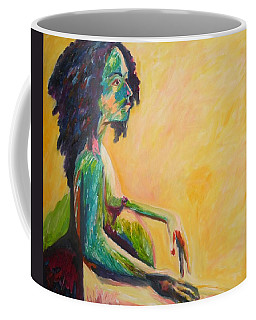 Pregnant Woman In Yellow Coffee Mug