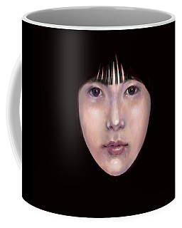 Coffee Mug featuring the digital art Prescient Moon, Heart Aflame by Lora Serra