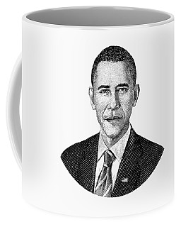 President Barack Obama Graphic Black And White Coffee Mug