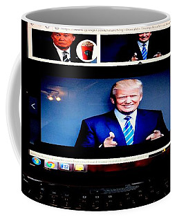 Coffee Mug featuring the digital art President Elect Donald J. Trump Two Guns Blazing by Richard W Linford