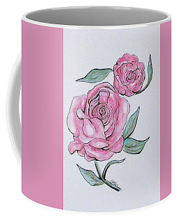 Coffee Mug featuring the painting Pretty And Pink Roses by Clyde J Kell