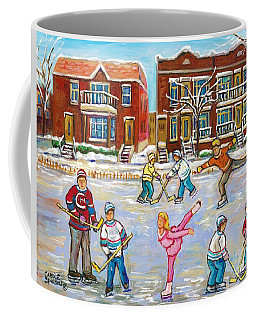 Pretty Little Pink Skater And Hockey Dad Share Ice Time Snowy Montreal Duplexes C Spandau Art Coffee Mug