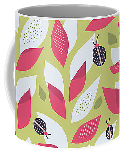 Pretty Plant With White Pink Leaves And Ladybugs Coffee Mug