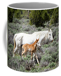 Pretty White Mustang Mare With Her New Foal - Sand  Wash Basin Coffee Mug