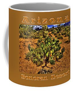 Prickly Pear In Bloom With Brittlebush And Cholla For Company Coffee Mug