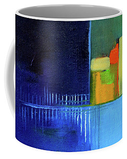 Coffee Mug featuring the painting Primary Blue Abstract by Nancy Merkle