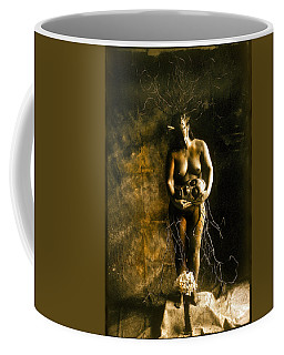 Primitive Woman Holding Mask Coffee Mug