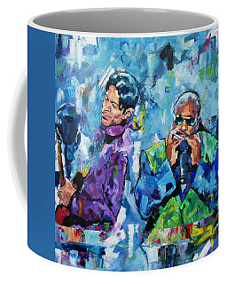 Coffee Mug featuring the painting Prince And Stevie by Richard Day
