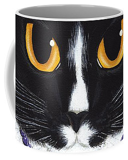 Coffee Mug featuring the painting Princess Fiona -tuxedo Cat by Carrie Hawks