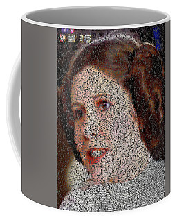 Coffee Mug featuring the painting Princess Leia Quotes Mosaic by Paul Van Scott