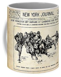 Coffee Mug featuring the mixed media Princeton Vs Harvard - New York Journal 1896 by Daniel Hagerman
