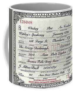 Coffee Mug featuring the photograph Prohibition Prescription Certificate Speakeasy by David Patterson