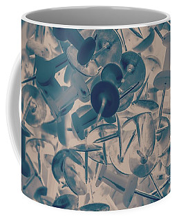 Projected Abstract Blue Thumbtacks Background Coffee Mug