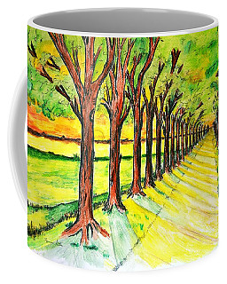 Coffee Mug featuring the drawing Promenada by Ramona Matei