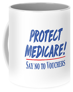 Coffee Mug featuring the drawing Protect Medicare by Heidi Hermes