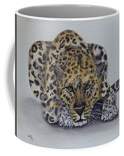 Coffee Mug featuring the painting Prowling Leopard by Kelly Mills