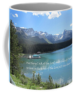Coffee Mug featuring the painting Psalm 27 With Maligne Lake by Linda Feinberg