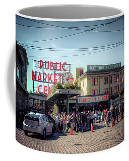 Coffee Mug featuring the photograph Public Market Crowd by Spencer McDonald