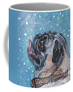 Coffee Mug featuring the painting Pug In The Snow by Lee Ann Shepard