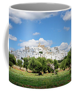 Puglia White City Ostuni With Olive Trees Coffee Mug
