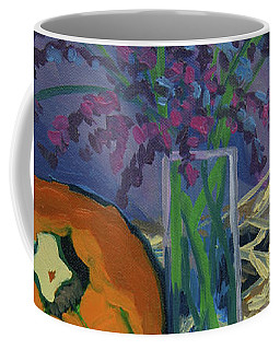 Coffee Mug featuring the painting Pumpkins And Wheat by Erin Fickert-Rowland