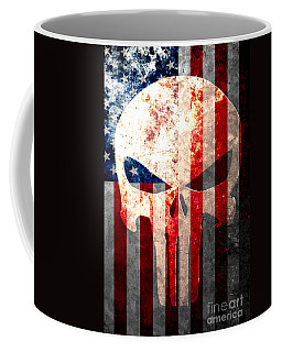 Punisher Themed Skull And American Flag On Distressed Metal Sheet Coffee Mug
