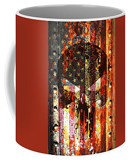 Punisher Skull On Rusted American Flag Coffee Mug by M L C