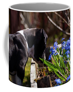 Puppy And Flowers Coffee Mug
