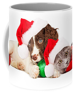 Puppy And Kitten Laying With Christmas Ornaments Coffee Mug