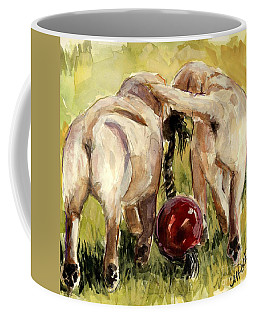 Coffee Mug featuring the painting Puppy Butts by Molly Poole