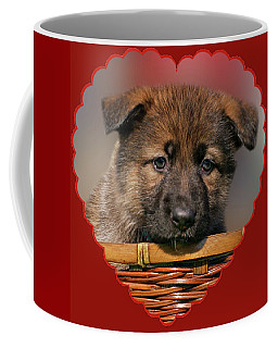 Coffee Mug featuring the photograph Puppy In Red Heart by Sandy Keeton