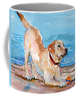 Coffee Mug featuring the painting Puppy Pose by Molly Poole