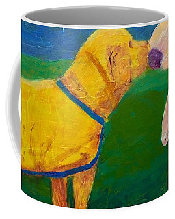Coffee Mug featuring the painting Puppy Say Hi by Donald J Ryker III