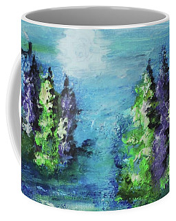 Coffee Mug featuring the painting Purple And Green by Kim Nelson