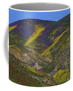 Purple And Yellow Hillsides Of Wildflowers At Carrizo Plain National Monument Coffee Mug
