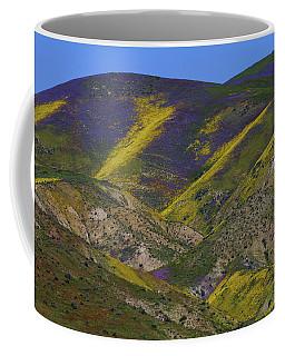Purple And Yellow Hillsides Of Wildflowers At Carrizo Plain National Monument Coffee Mug