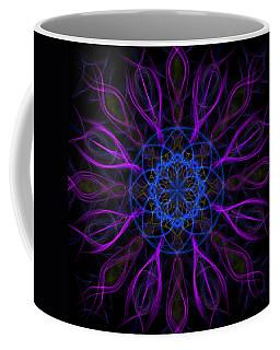 Coffee Mug featuring the photograph Purple Blue Kaleidoscope Square by Adam Romanowicz