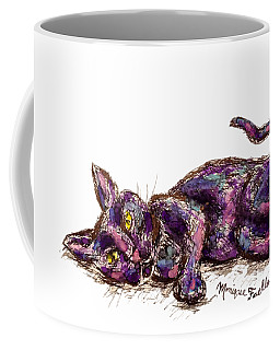 Coffee Mug featuring the painting Purple Cat by Monique Faella